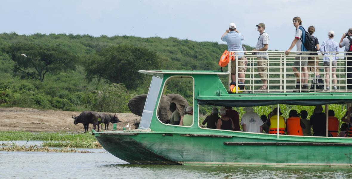Boat cruise inqueen elizabeth national park on a 7 Days Uganda Wildlife Safari